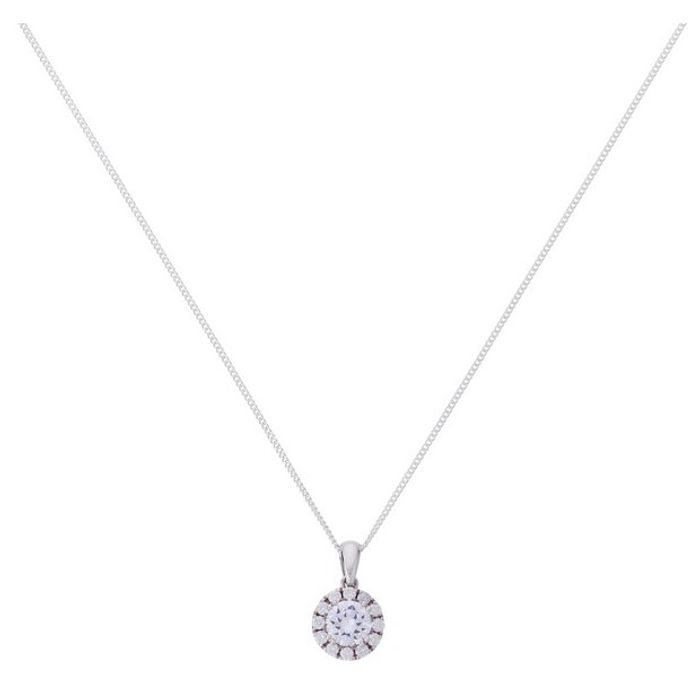 Revere Silver round Cubic Zirconia Pendant 18 Inch Necklace