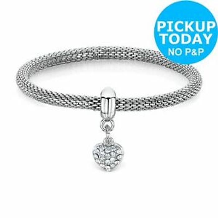 Best Price! Buckley London Heart Silver Colour Charm Mesh Bracelet Only £9.99