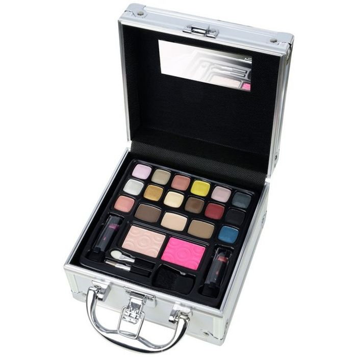 Silver Cosmetics Case and Contents