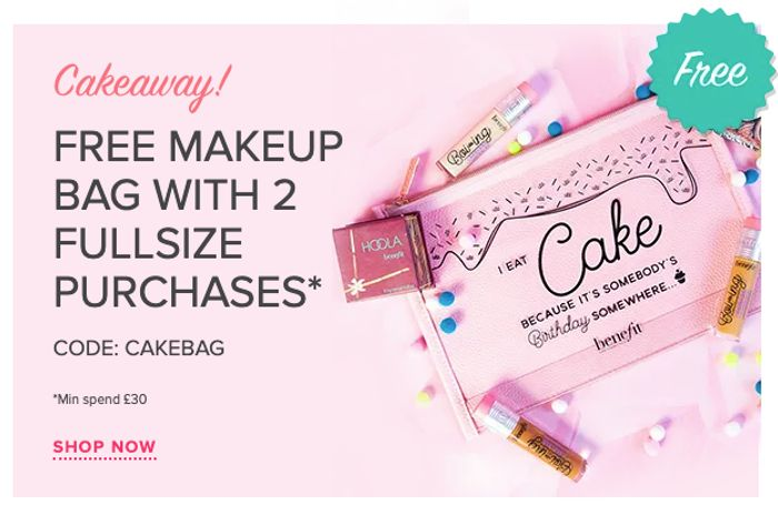 FREE Makeup Bag with 2 Full Size Purchases of £30 or More with Code