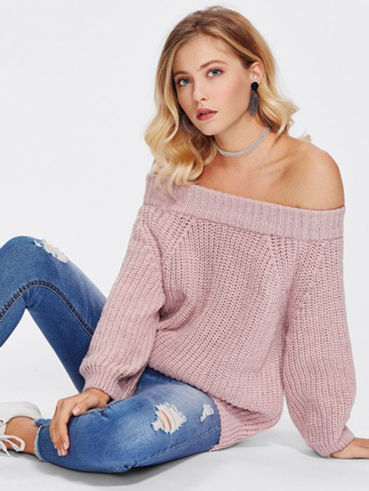 Off Shoulder Texture Knit Jumper