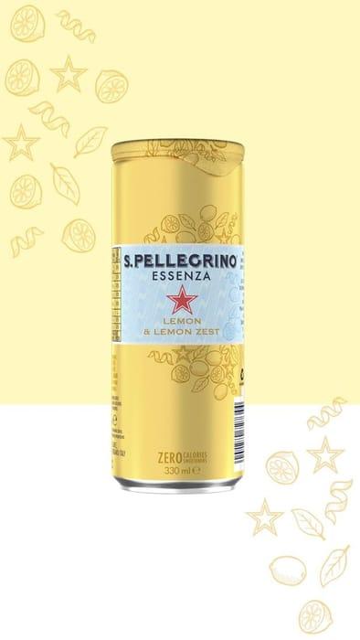 CASE of 12x San Pellegrino Essenza Lemon & Lemon Zest 330ml BBE 30/6/20
