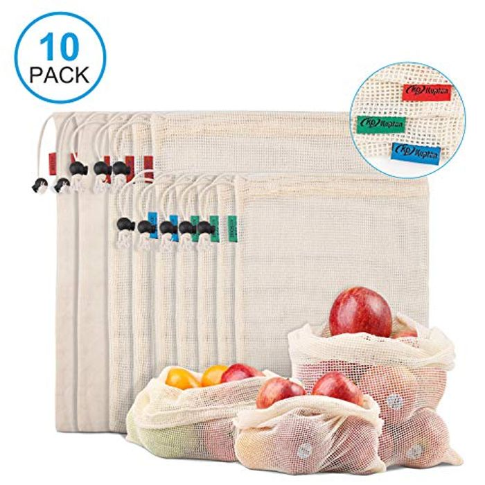 10 X Reusable Mesh Bags for Fruit and Veg with Drawstring
