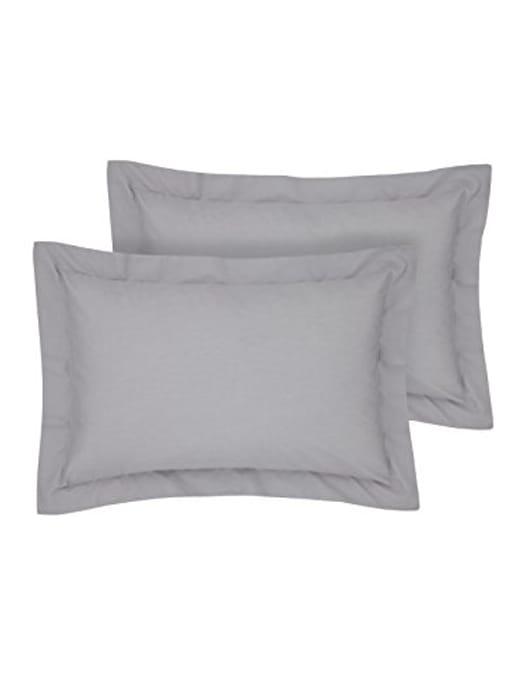 Rayyan Linens Oxford Pair of Pillowcases Silver (Grey) 100% Egyptian Cotton