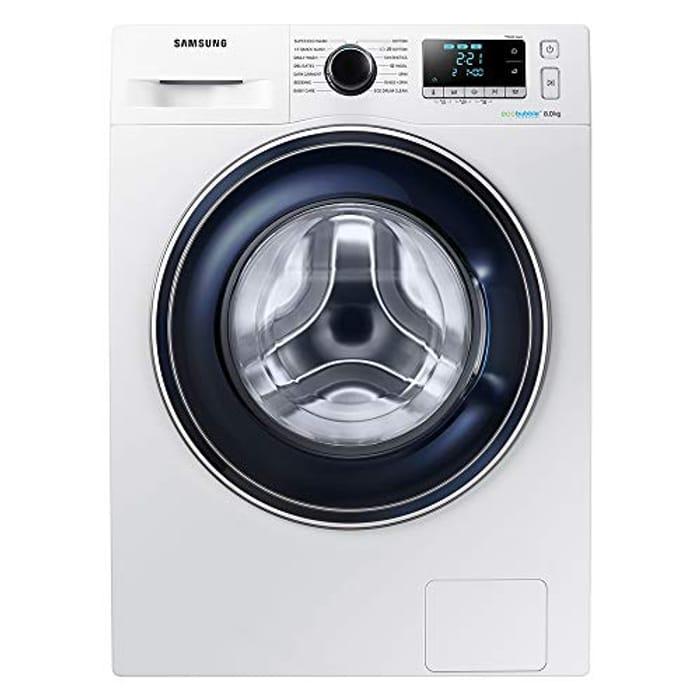 Samsung Ecobubble WW80J5555FA Freestanding Washing Machine, 8Kg Load - White