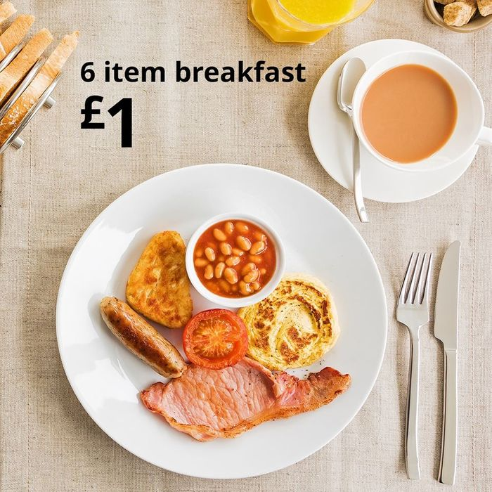 6 Item Breakfast + FREE Hot Drink Just £1 at IKEA