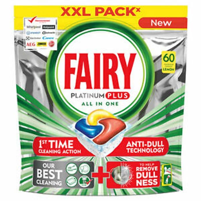Fairy Platinum plus All-in-One Dishwasher Lemon Capsule, 60 Capsules