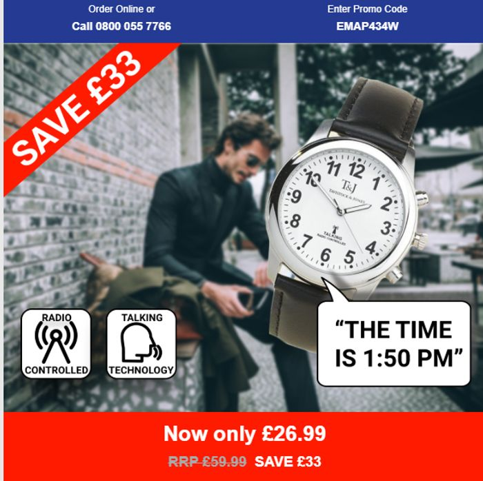 Radio Controlled Talking Watch *Was £59.99 Now £26.99 SAVE £33