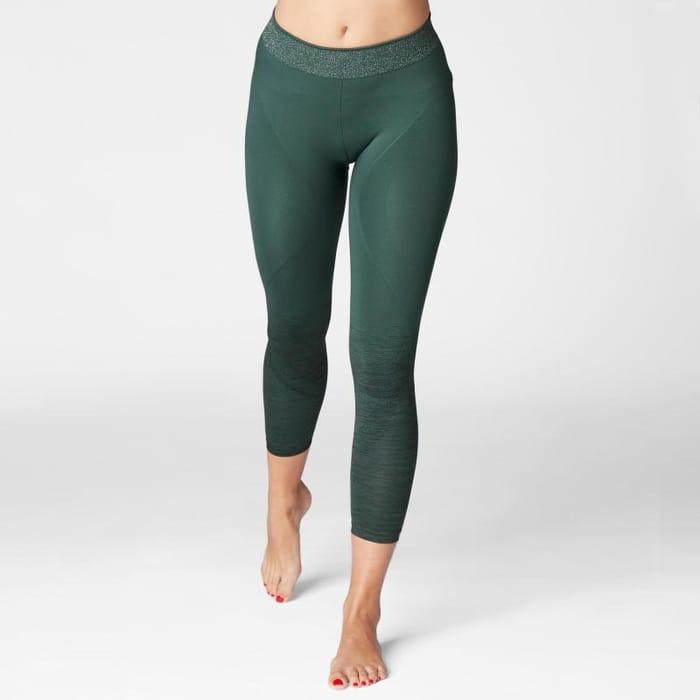 Cheap Domyos Seamless 7/8 Yoga Leggings - Dark Green, Only £8.99!