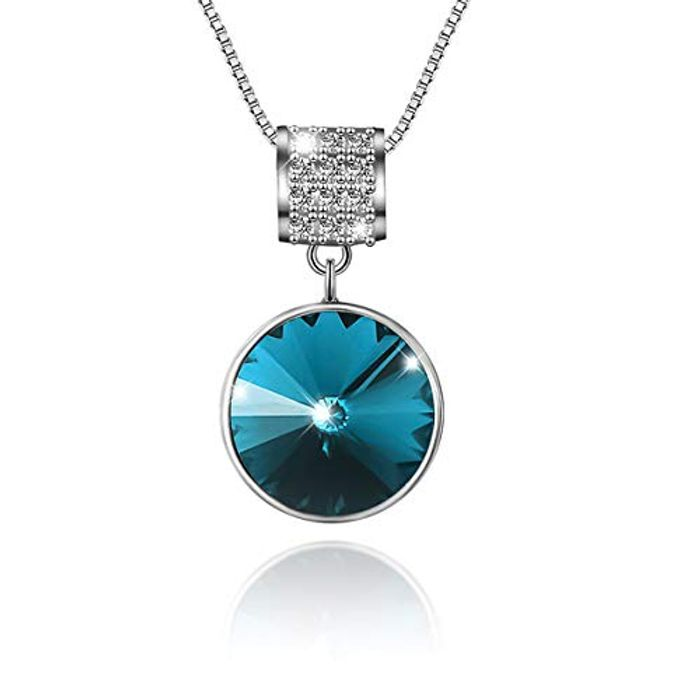 Best Price! Heart Pendant 925 Sterling Silver Necklace with Blue Ocean Crystals