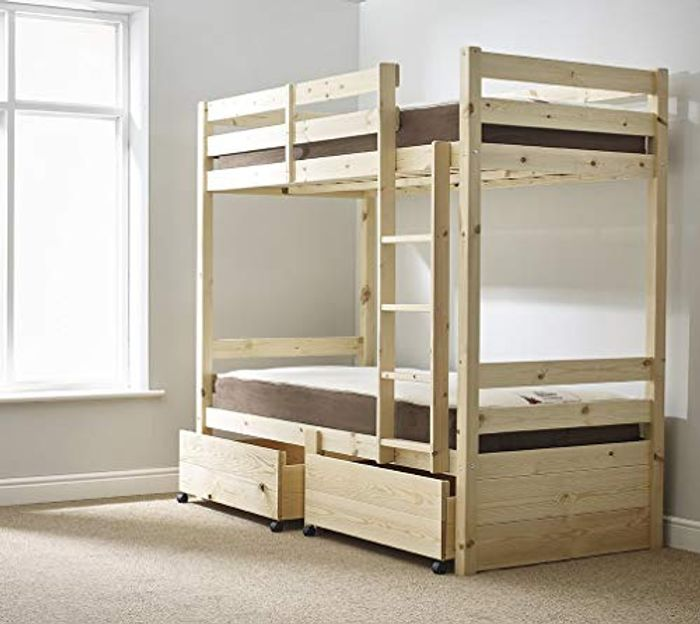 Storage Bunk Bed - 3ft Single Solid Pine Bunkbed with Drawers