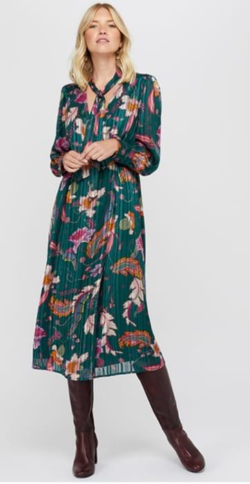 Rosie Print Pussybow Midi Dress