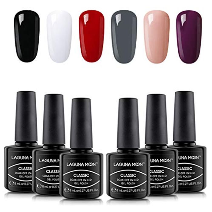Gel Nail Polish Set 6 Classic Colours Black White Red Gray Dark Purple Nude