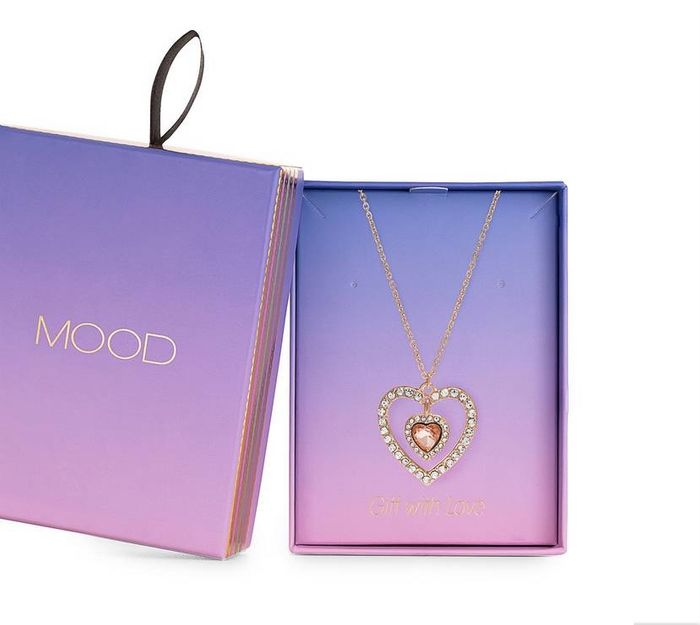 Mood - Rose Gold Plated Pink Heart Necklace - Gift Boxed with 50% Discount!
