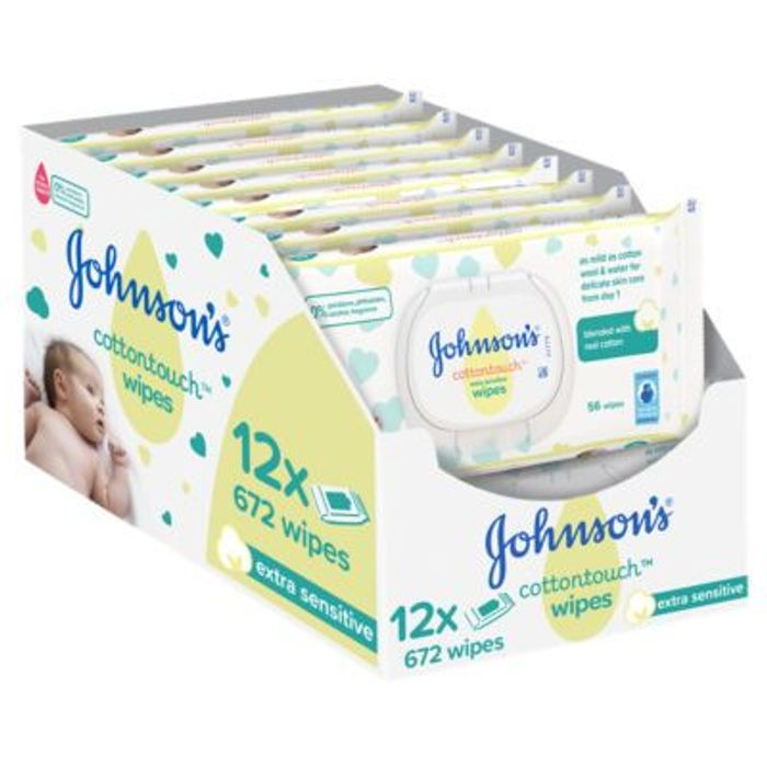 Johnson's Cottontouch Extra Sensitive Wipes 12 Pack Was £10