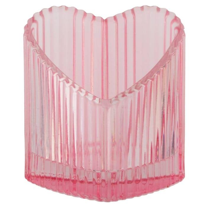 Glass Heart Tealight Candle Holder - Pink