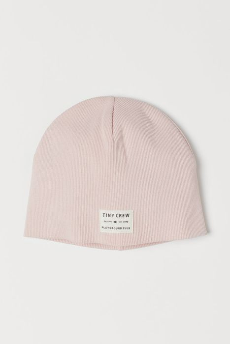 Baby Ribbed Cotton Hat - Light Pink