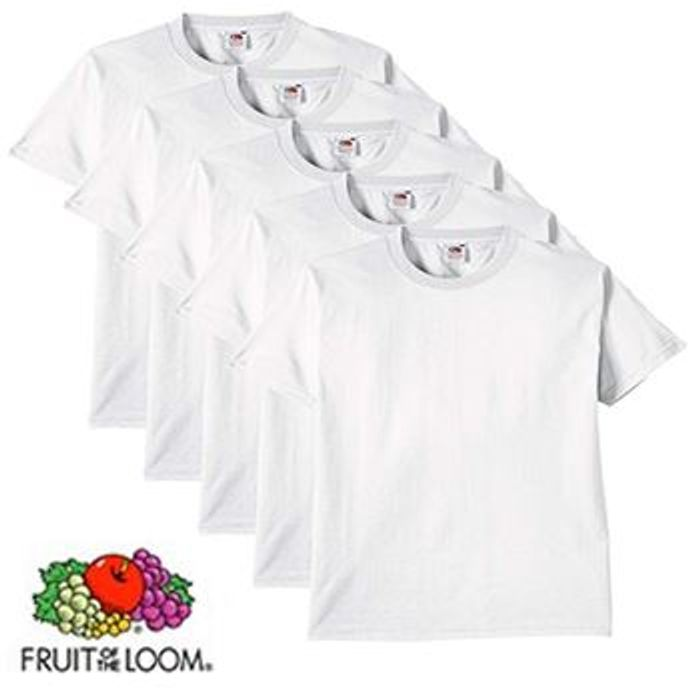 Fruit of the Loom Men's Heavy T-Shirt Pack of 5 - Medium