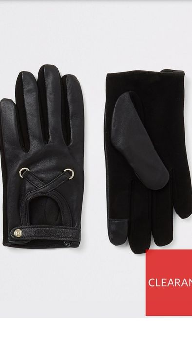 River Island Leather Cut out Gloves
