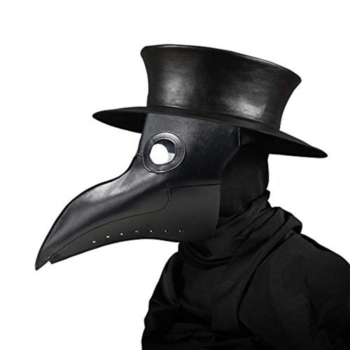 Womdee Plague Doctor Mask, Faux Leather Beak Punk Halloween Costume