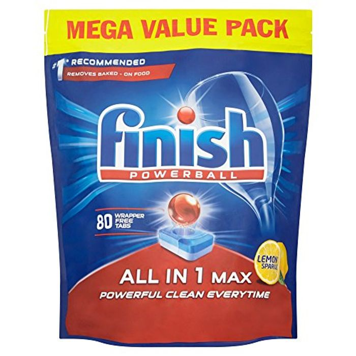 Finish Dishwasher Tablets, All in 1 Max Lemon, Pack of 80 - 57% Off!