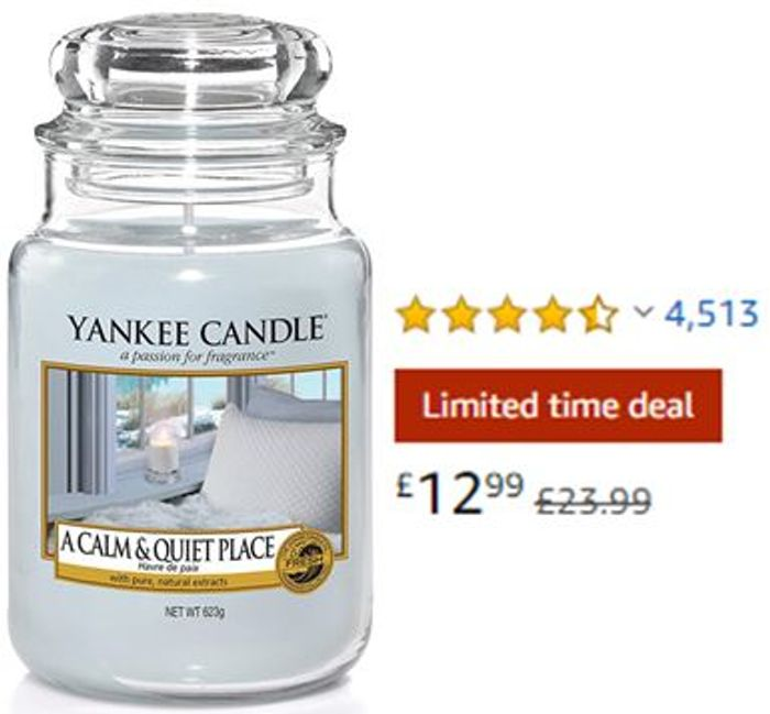 SAVE £11 - Yankee Candle Large Jar Scented Candle - a CALM and QUIET PLACE