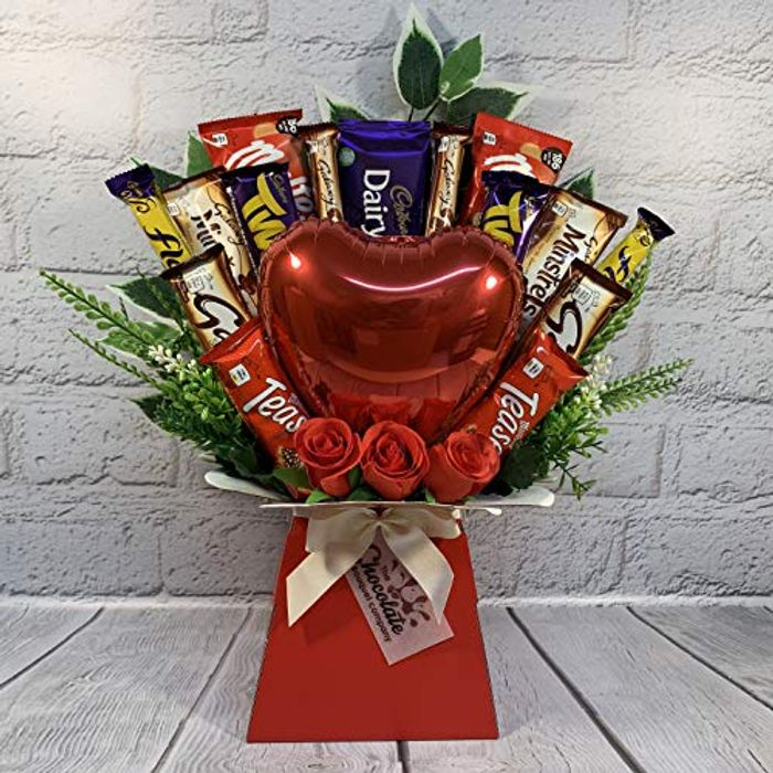 Valentines Day Chocolate Bouquet with Balloon Chocolate & Flowers