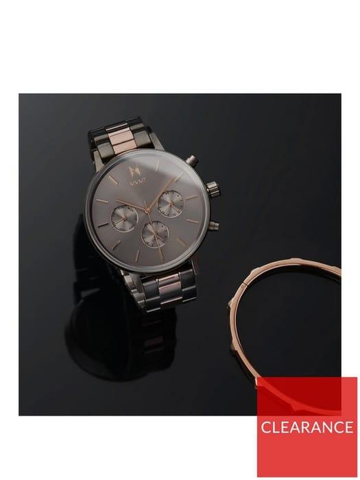 MVMT Sunray & Rose Gold S/Steel Bracelet Watch & Rose Gold Bangle Gift Set