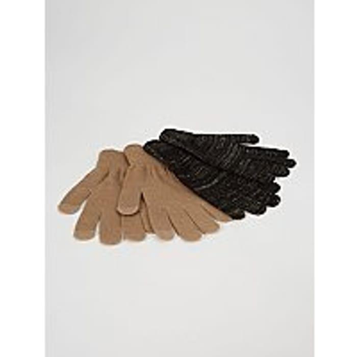 Women's Gold Effect Shimmer Touch Screen Gloves 2 Pack