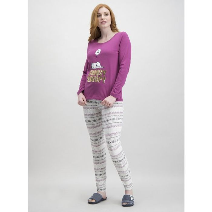 Christmas Snoopy Purple & Cream Pyjamas - Size 6