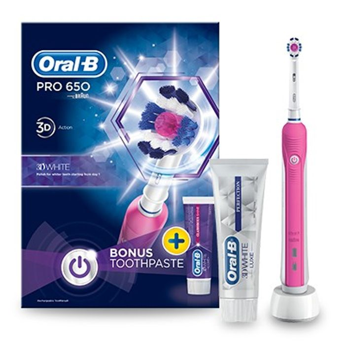 Oral-B Pro 650 Pink Electric Toothbrush and Toothpaste 75ml £16.20 with Code