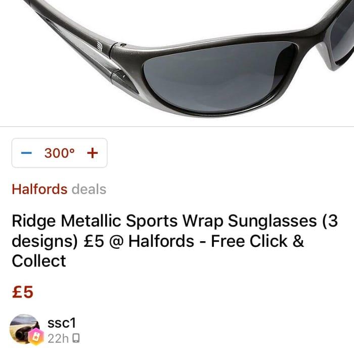 Ridge Metallic Sports Wrap Sunglasses - Silver/Black Only £5