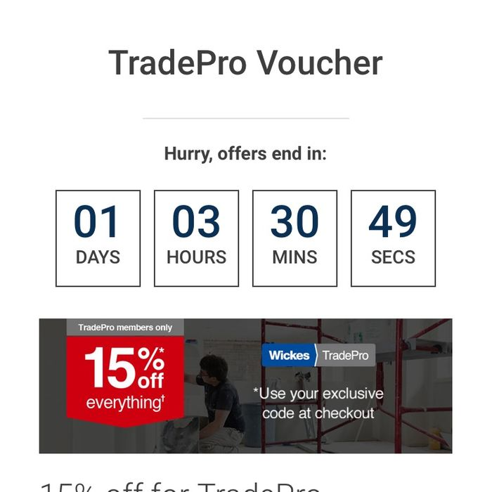 Wickes 15% off Everything (Tradepro Members)