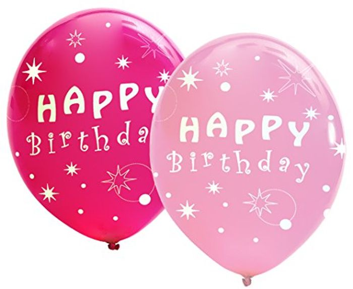 Best Price! Pack of 12 Assorted Dark and Light Pink Happy Birthday Balloons