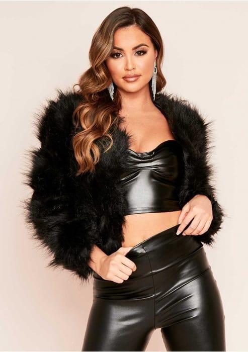 Black Cropped Shaggy Faux Fur Coat