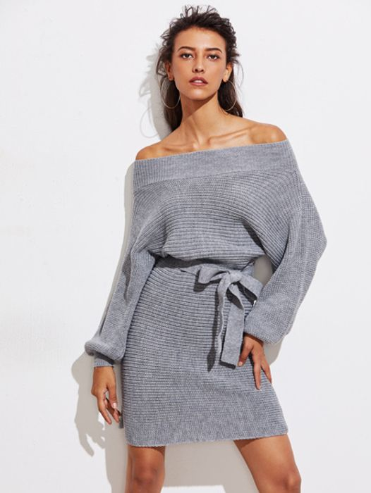 Batwing Sleeve Self Tie Jumper Dress