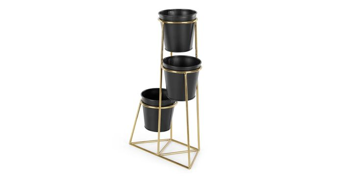 Ilex 3 Tier Metal Planter with Pots, Brass with Black Pots