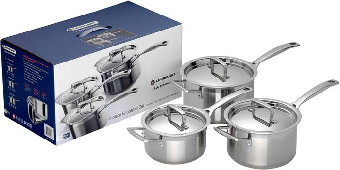 Amazon Deal of the Day: Le Creuset 3-Ply Stainless Steel Saucepan Set. SAVE £125
