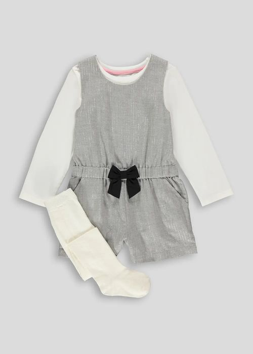 Girls Grey Long Sleeve 3 Piece Playsuit Set (9mths-6yrs)