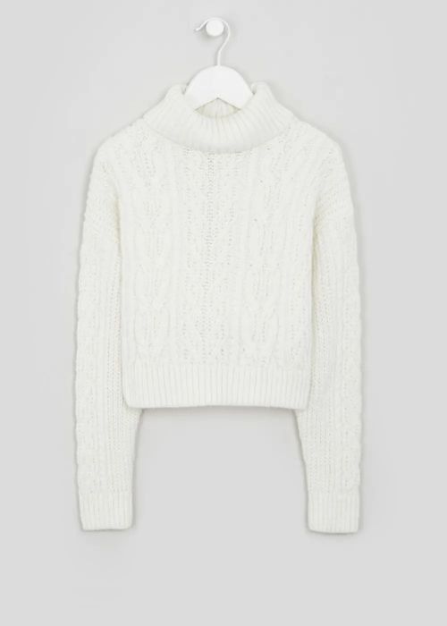 Girls Cable Knit Roll Neck Jumper (9-16yrs)