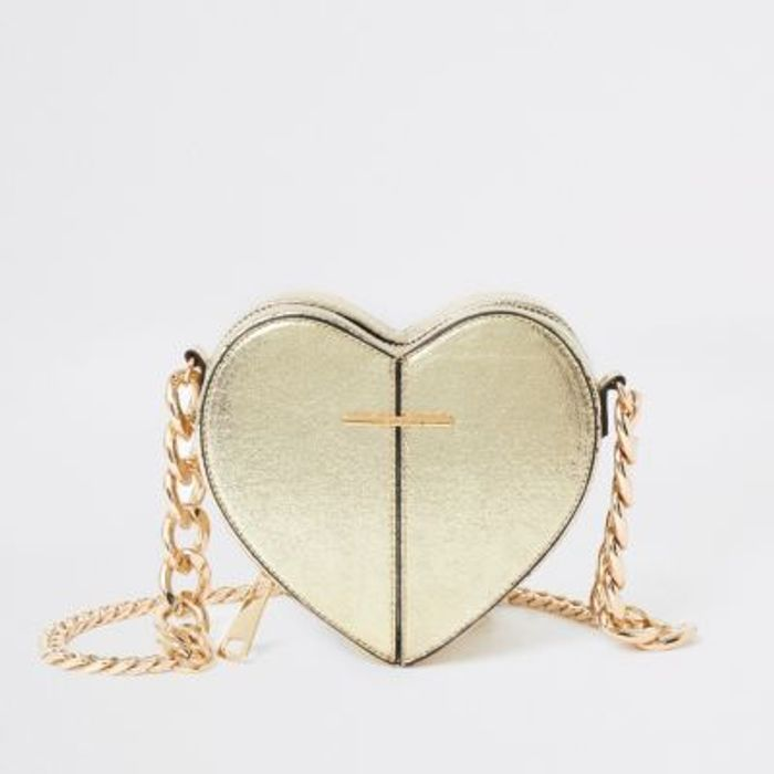Gold Heart Shaped Cross Body Bag Half Price