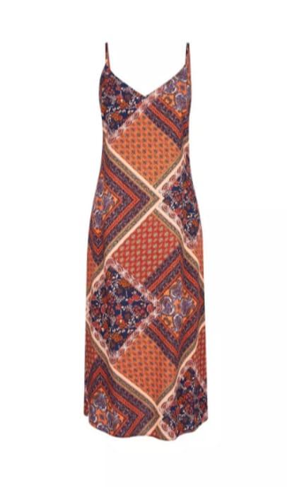 Multi Coloured Scarf Print Slip Dress Only £5