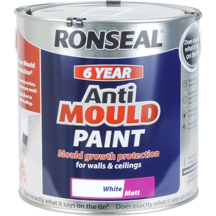 Ronseal 6 Year Anti Mould Paint 2.5L Matt White