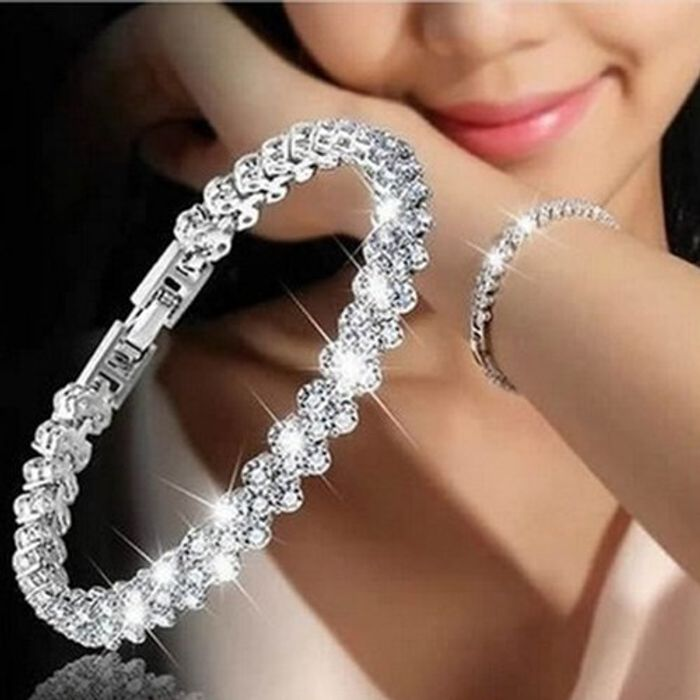 Silver Bracelet with Cubic Zirconia Crystals - Free Delivery!