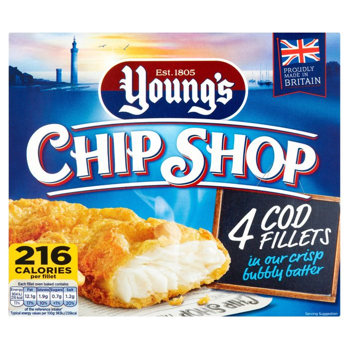 Young's Chip Shop 4 Cod Fillets in Crisp Bubbly Batter 400g (Offer-2for£6.00)