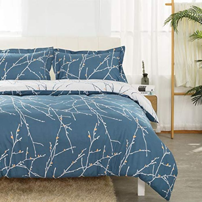 Navy and Camel Branch Pattern Double Duvet Set