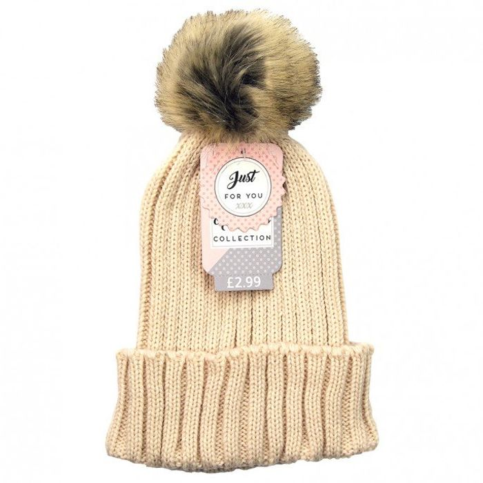 LADIES POM POM KNITTED HAT 3 Colours