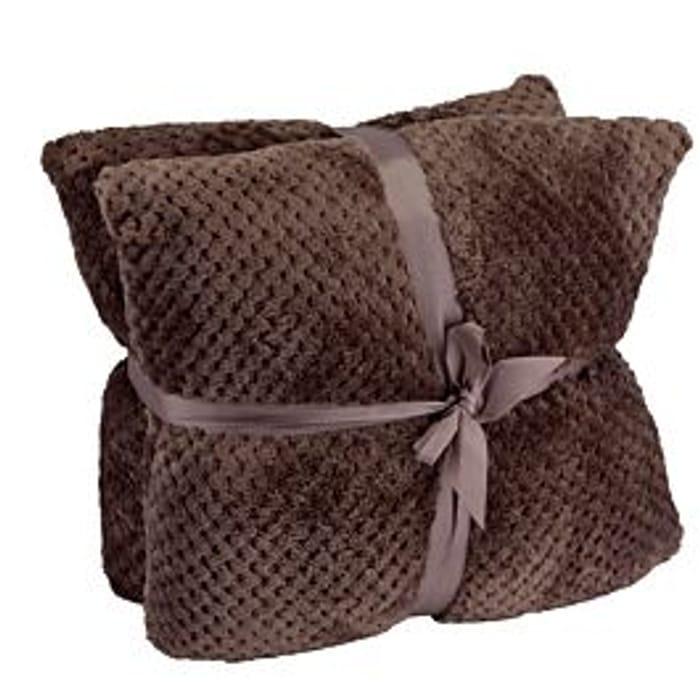 Hotel Luxury Twin Pack Waffle Cushion - Chocolate