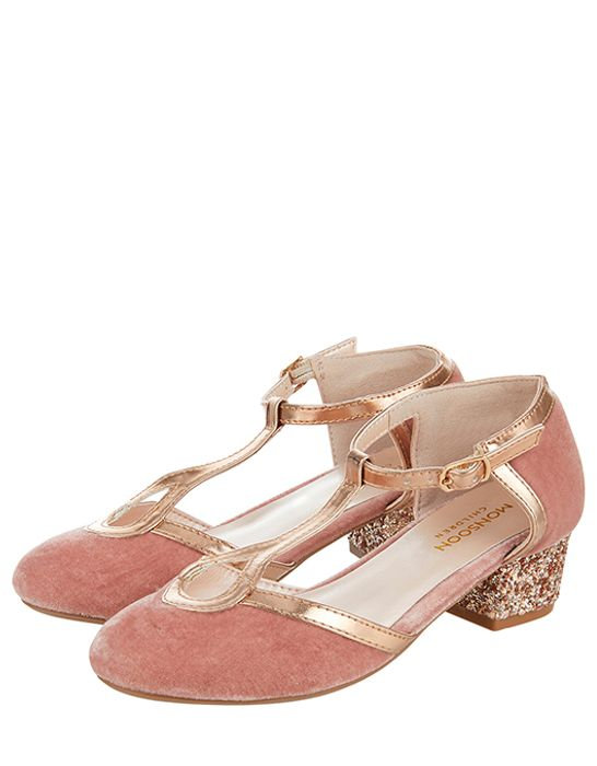 Cheap Nora Velvet T-Bar Glitter Heel Shoes, Only £7.5!