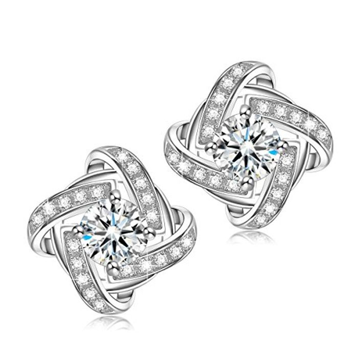 Women Stud Earrings, 925 Sterling Silver, Inlaid Cubic Zirconia